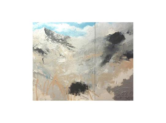 Alpen-Stück  |  2011  |  Acryl auf Leinwand  |  2-teilig, 100 x 130 cm