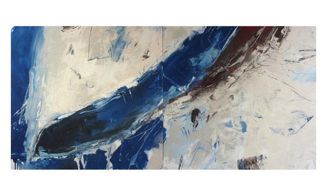 Quelle 1  |  2014  |  Acryl auf Leinwand  |  2-teilig, 120 x 360 cm