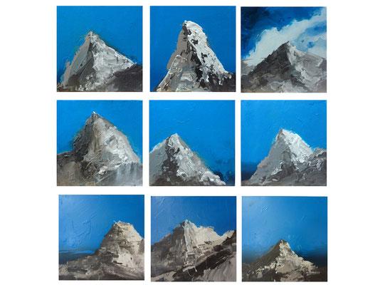 Alpen  |  2013  |  Acryl auf Leinwand  |  je 30 x 30 cm