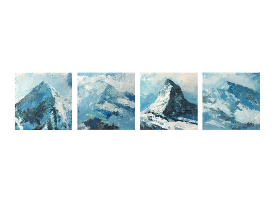Alpen-Serie 1-5  |   2012  |  Acryl auf Leinwand  |  je 20 x 20 x 7,5 cm