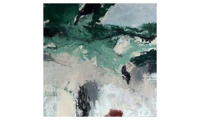 Grün-Grenze 1  |  2015  |  Acryl auf Leinwand  |  120 x 120 cm