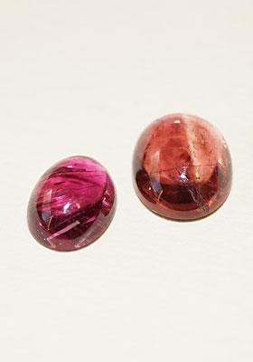 2 Tourmalines cabochon ovale, rose et orange.
