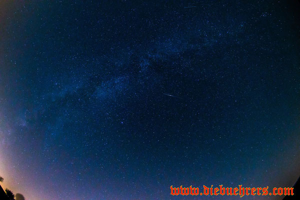 In der Mitte des Bildes eine recht helle Sternschnuppe