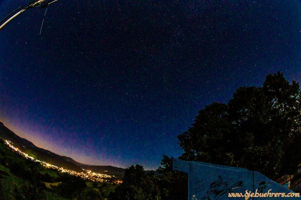 Blick in den Nachthimmel Richtung Schopfheim, die Milchstraße ist leicht zu sehen