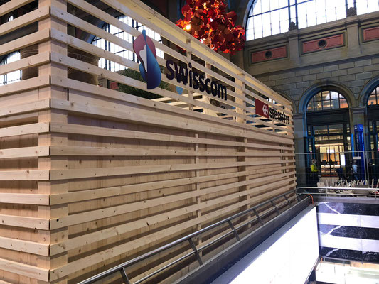 Messestand Doppelstock Holzbau Erlebnis HB Zürich Statik Dekoration Design