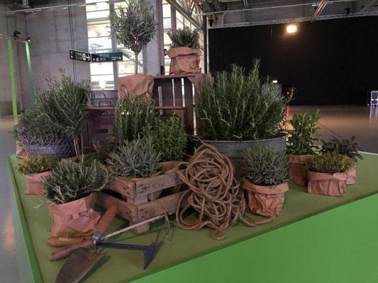 Palette mit Blumen Dekoration Messebau