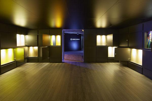 Umbau SwisKrono Design Architektur Einrichtung Lichtshow  Ausstellungsraum