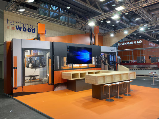 Messestand Techno Wood Live Kommunikation Design Architektur Holzbau Bar Individuell