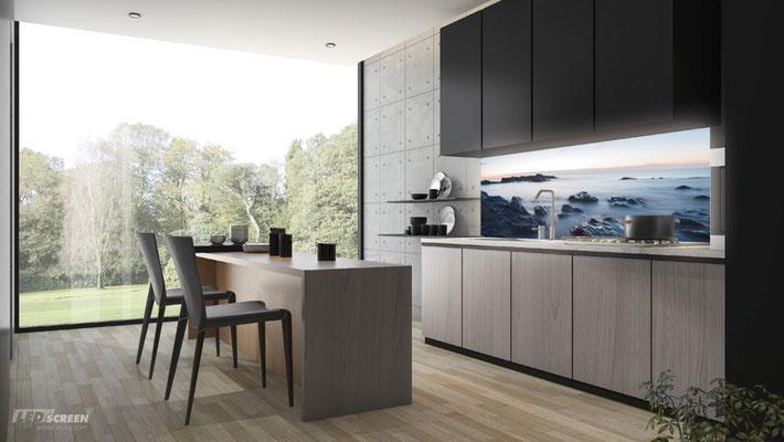 Beleuchtete Glasrückwand - Küchenrückwand - © LEDscreen®
