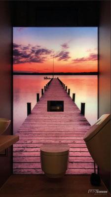 Beleuchtete Glasrückwand - WC - © LEDscreen®