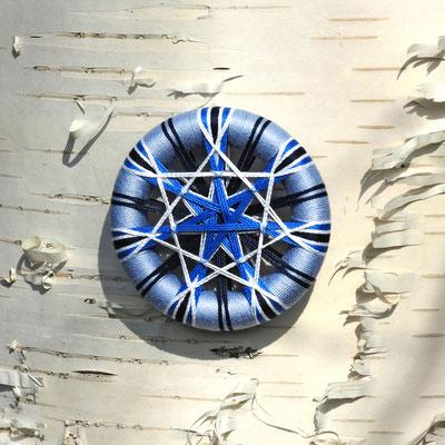 Zwirnknopf-Taschencharm oder Schlüsselanhänger | Ø 56 mm, Dicke: 10 mm | Material: Baumwolle, Holz