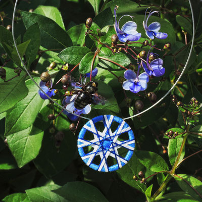 Zwirnknopf-Anhänger | Ø 44 mm | Material: Baumwolle, Aluminium