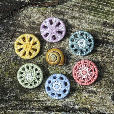 Zwirnknopf-Anhänger | Ø 26 mm | Material: Baumwolle, Aluminium