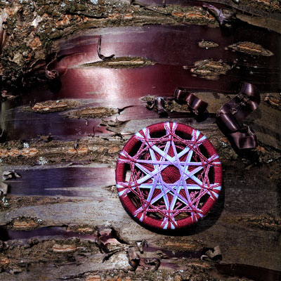 Zwirnknopf-Anhänger | Ø 52 mm | Material: Baumwolle, Aluminium