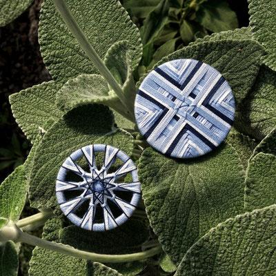 Zwirnknopf-Anhänger, Posamenetenknopf-Anhänger | Ø 3,6 und 44 mm | Material: Baumwolle, Aluminium