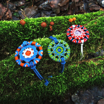 Zwirnknopf-Armbänder | Ø 36 mm | Material: Baumwolle, Aluminium