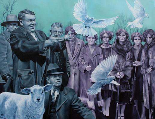 Taubenmann mit Lamm und Leuten | 2016 | Ölfarben auf Leinwand | 140 x 180 cm