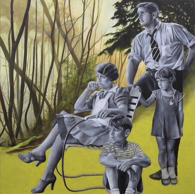Leute im Wald |  Öl auf Leinwand | 140 x 140 cm