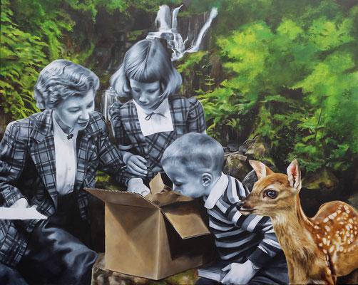 Paket im Wald |  Öl auf Leinwand | 120 x 150 cm