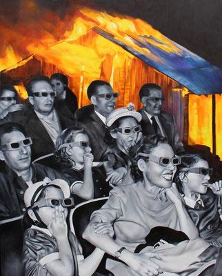 Brennendes Haus mit Leuten | 2016 | Ölfarben auf Leinwand | 140 x 180 cm