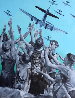 Flieger und Jungen | Öl auf Leinwand | 180 x 140 cm