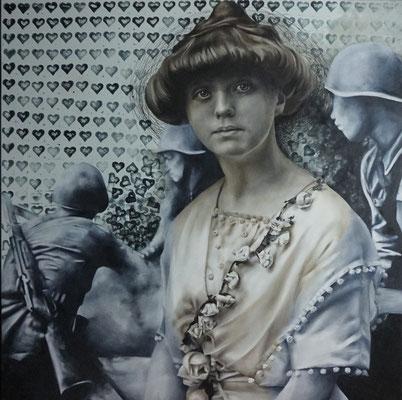 Frau und Soldaten | 2015 | Ölfarben auf Leinwand | 100 x 100 cm | verkauft
