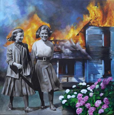 Brennendes Haus mit Mädchen | Öl auf Leinwand | 100 x 100 cm