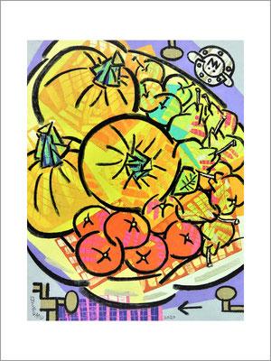 初夏の食卓(B)F6号(40.9x31)-キャンバスに油彩-2020-桜株ギャラリー九十九伸一館