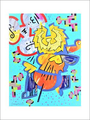 クラウドマン-(チェロライオン)-F6号(40.9x31)-キャンバスに油彩-2020-桜株ギャラリー九十九伸一館