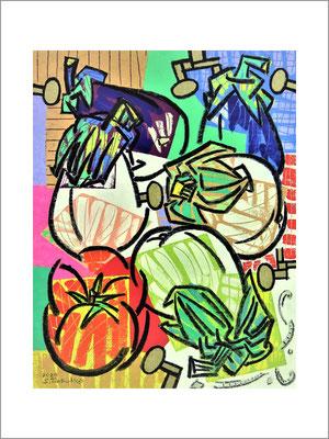 カタルーニャの白い茄子-F6号(40.9x31)-キャンバスに油彩-2020-桜株ギャラリー九十九伸一館