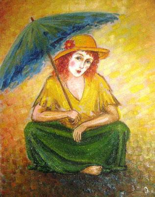"""A woman with umbrella"".  Artist L. Badurashvili"