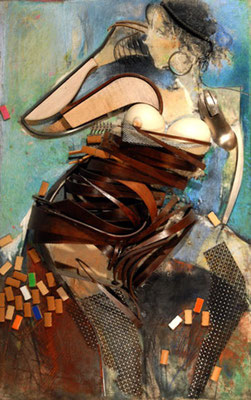 "Collage ""Lady with Glass of Water"""