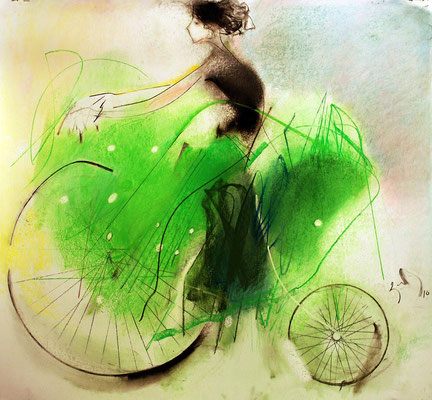 """Riding bicycle"". Artist V. Abuladze"