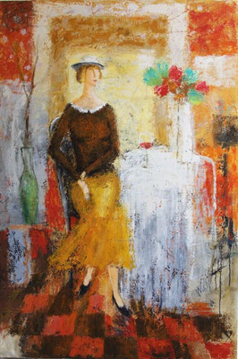 """Lady and flowers"". Artist Gia Revazishvili"