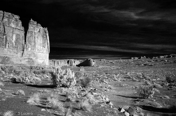 Desert Monolith #1, Arches National Park, Utah. Photographed with an infrared converted camera