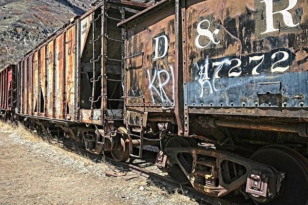 Sitting Train Cars, Provo Canyon, Utah