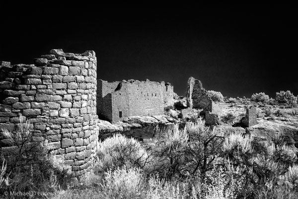 Puebloan ruins at Hovenweep NM, Utah. Photographed using an infrared converted camera