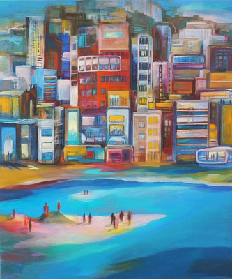 Ocean City / Acryl a. Leinwand, 90 x 75 cm, 2018 (verkauft)