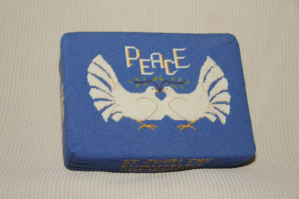 11.  Peace Doves – 2 of the same design: 1&2 donated by Len Palmer and worked by Bridget Garton and Helen Gardner