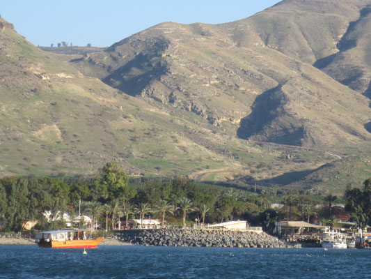 The view back towards the Golan heights from our boat