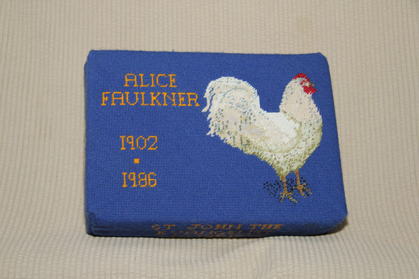 70. Cockerel in memory of Alice Faulkner 1902-1968. Donated by Vera Faulkner and worked by Joy Barker