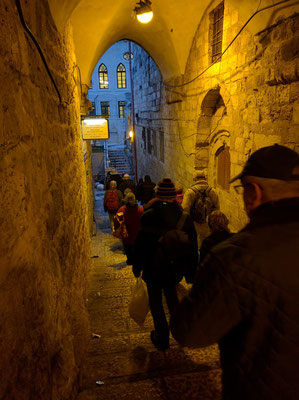 Setting off on the Via Dolorosa at 6pm