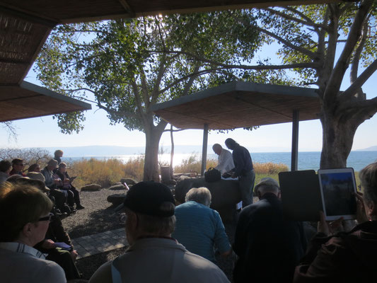 Communion on the shore of the Sea of Galilee
