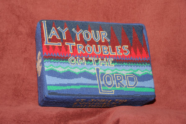 "46.  ""Lay Your Troubles on the Lord"" - dedicated to Brian N. Jones, Vicar (1989-1997) donated and worked by Rosalind Jones"