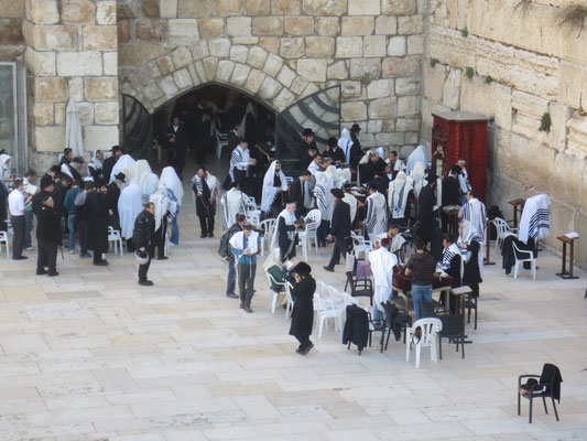 Jewish men at the Wailing Wall