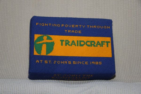 71. Traidcraft: At St John's since 1985. Donated by Traidcraft and worked by Joy Barker