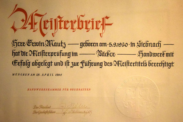 Meisterbrief von 1964