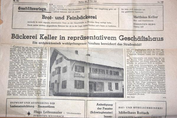 alter Zeitungsartikel aus 1957
