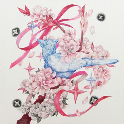 かなたの桜 333×333㎜ 紙、色鉛筆