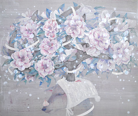 Floral antlers-camellia/acrylic paint,colored pencil on paper/727×606㎜/F20/2017
